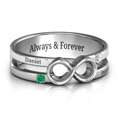 Men's Accented Infinity Personalised Ring - AMAZINGNECKLACE.COM