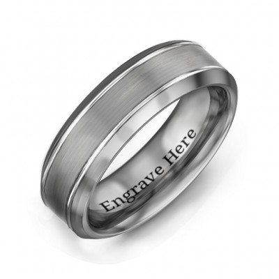 Men's Beveled Edge Brushed Centre Tungsten Personalised Ring - AMAZINGNECKLACE.COM