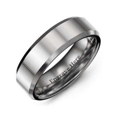 Men's Beveled Edge Polished Tungsten Personalised Ring - AMAZINGNECKLACE.COM