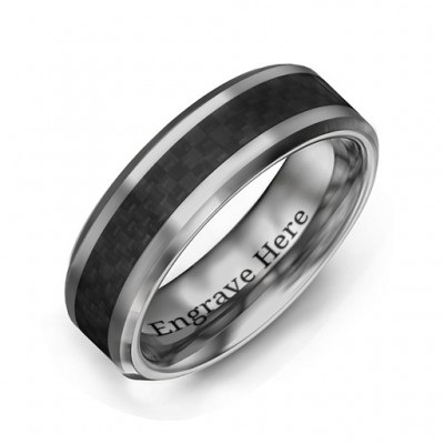 Men's Black Carbon Fiber Inlay Polished Tungsten Personalised Ring - AMAZINGNECKLACE.COM