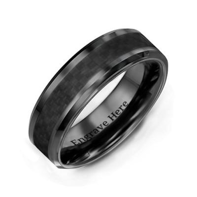 Men's Black Nightfall Ceramic Personalised Ring - AMAZINGNECKLACE.COM