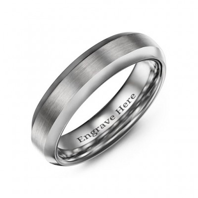 Men's Brushed Centre Polished Tungsten Personalised Ring - AMAZINGNECKLACE.COM