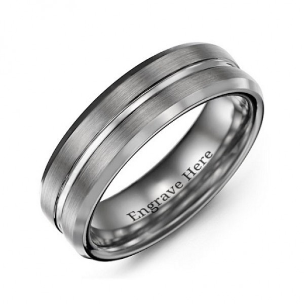 Men's Brushed Grooved Centre Beveled Tungsten Personalised Ring - AMAZINGNECKLACE.COM