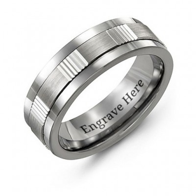 Men's Brushed Ribbed Tungsten Band Personalised Ring - AMAZINGNECKLACE.COM