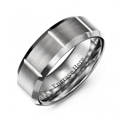Men's Brushed Vertical Grooved Polished Tungsten Personalised Ring - AMAZINGNECKLACE.COM