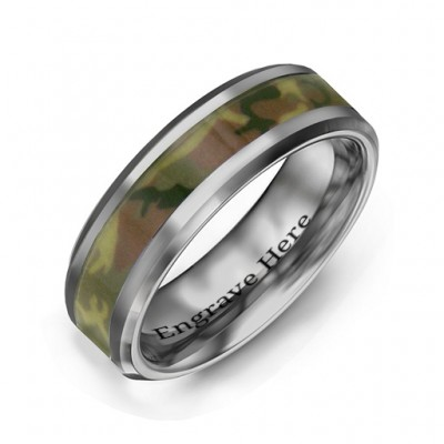 Men's Camouflage Tungsten Personalised Ring - AMAZINGNECKLACE.COM