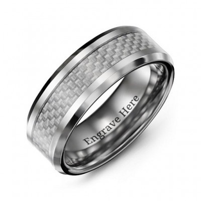 Men's Clear Carbon Fiber Inlay Polished Tungsten Personalised Ring - AMAZINGNECKLACE.COM
