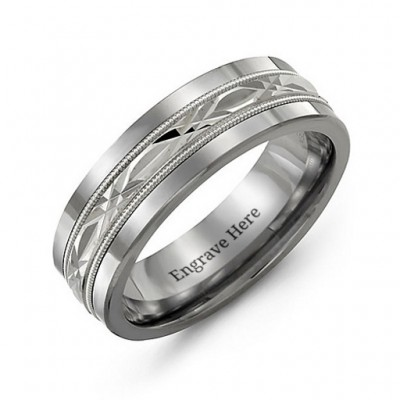 Men's Cut Out XO Centre Tungsten Band Personalised Ring - AMAZINGNECKLACE.COM