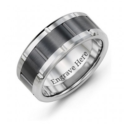 Men's Grooved Bicolour Tungsten Personalised Ring - AMAZINGNECKLACE.COM