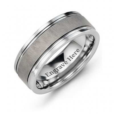 Men's Grooved Tungsten Personalised Ring with Brushed Centre - AMAZINGNECKLACE.COM