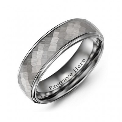 Men's Hammered Centre Polished Tungsten Personalised Ring - AMAZINGNECKLACE.COM
