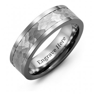 Men's Hammered Tungsten Band Personalised Ring - AMAZINGNECKLACE.COM