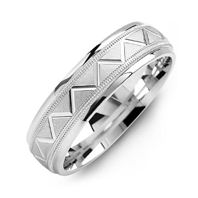 Men's Milgrain Personalised Ring with Zig-Zag Pattern - AMAZINGNECKLACE.COM