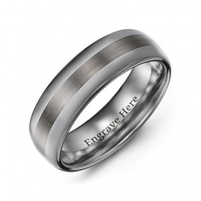 Men's Polished Brushed Centre Tungsten Personalised Ring - AMAZINGNECKLACE.COM