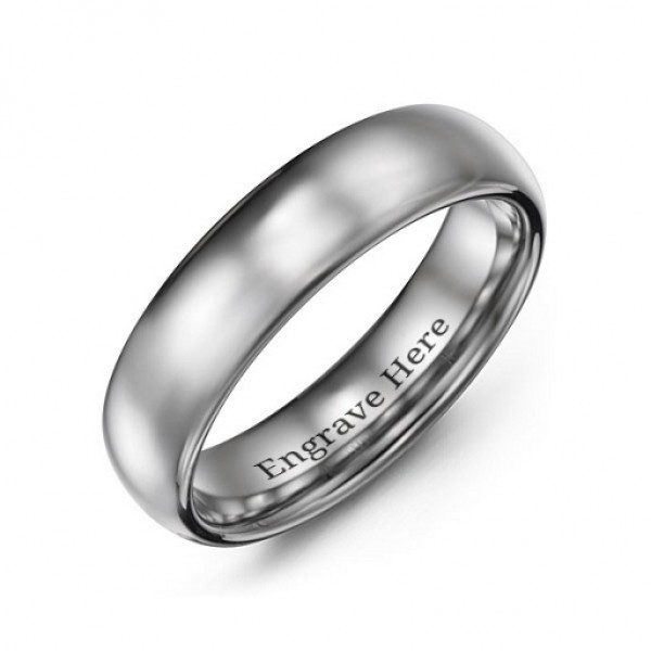 Men's Polished Tungsten Dome 6mm Personalised Ring - AMAZINGNECKLACE.COM