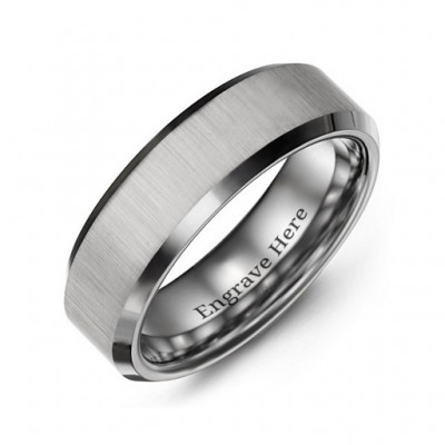 Men's Satin Finish Centre Polished Tungsten Personalised Ring - AMAZINGNECKLACE.COM