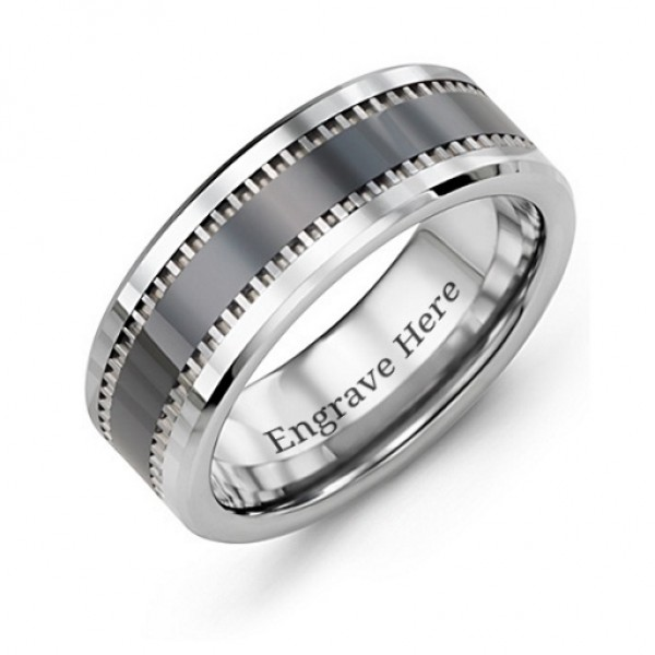 Men's Trail Tungsten Personalised Ring - AMAZINGNECKLACE.COM