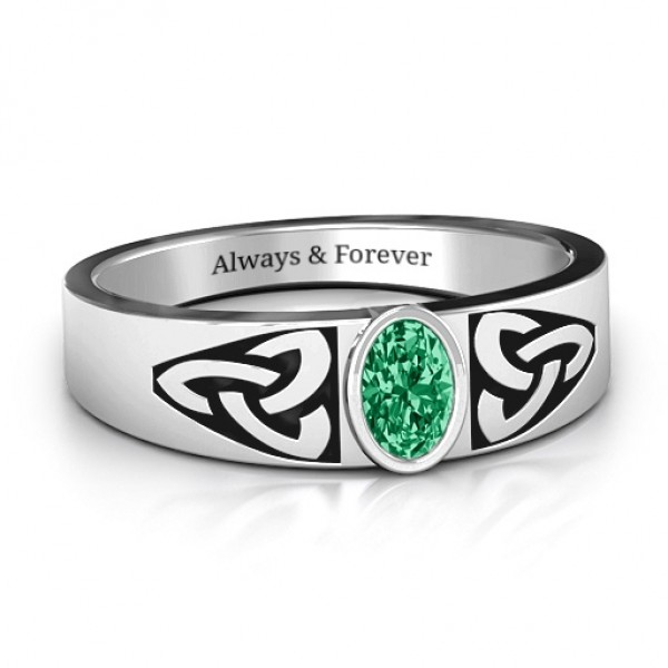Men's Trinity Knot Personalised Ring With Oval Stone  - AMAZINGNECKLACE.COM