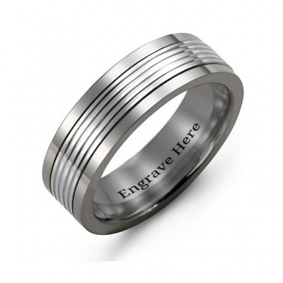 Men's Tungsten Inlay Band Personalised Ring - AMAZINGNECKLACE.COM