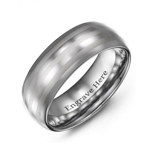 Men's Tungsten Polished Triple Stripe Satin Centre Personalised Ring - AMAZINGNECKLACE.COM