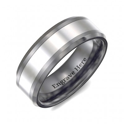 Men's Two Tone Black Tungsten Polished Personalised Ring - AMAZINGNECKLACE.COM