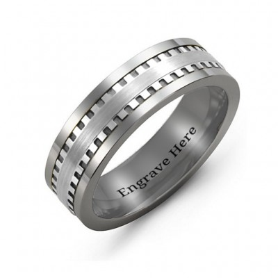 Men's Vertical Grooved Centre Tungsten Band Personalised Ring - AMAZINGNECKLACE.COM