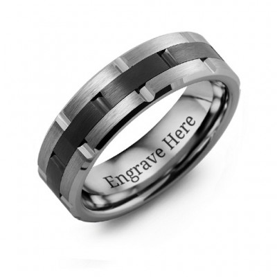 Men's Tungsten & Ceramic Grooved Brushed Personalised Ring - AMAZINGNECKLACE.COM