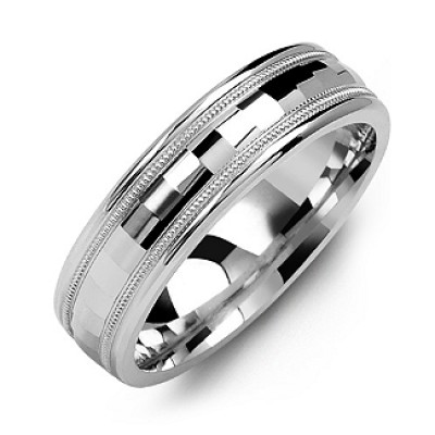 Milgrain Men's Personalised Ring with Baguette-Cut Centre - AMAZINGNECKLACE.COM
