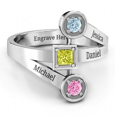 Modern Birthstone Personalised Ring  - AMAZINGNECKLACE.COM