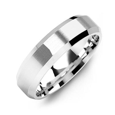 Modern Brushed Men's Personalised Ring with Beveled Edges - AMAZINGNECKLACE.COM