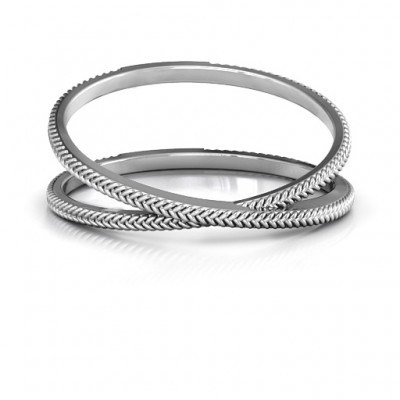 Modern Crossover Personalised Ring - AMAZINGNECKLACE.COM