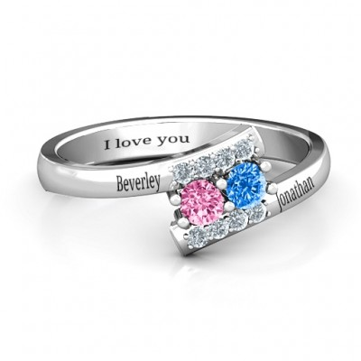 Must Be Love Two Stone Personalised Ring  - AMAZINGNECKLACE.COM