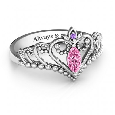 Once Upon A Time Tiara Personalised Ring - AMAZINGNECKLACE.COM
