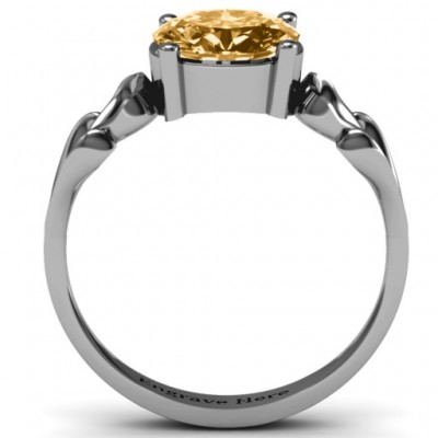 Oval Solitaire Personalised Ring with Surrounding Hearts - AMAZINGNECKLACE.COM