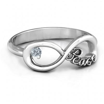 Peace Infinity Personalised Ring - AMAZINGNECKLACE.COM