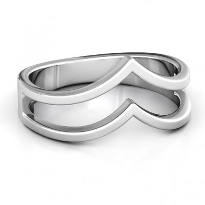 Peaks and Valleys Geometric Personalised Ring - AMAZINGNECKLACE.COM