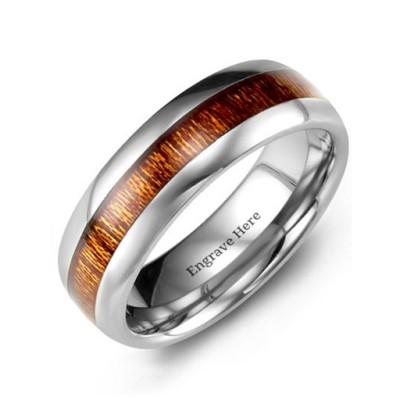 Polished Tungsten Personalised Ring with Koa Wood Insert - AMAZINGNECKLACE.COM