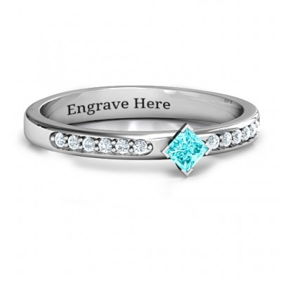 Princess Centre Stone Personalised Ring with Twin Accent Rows  - AMAZINGNECKLACE.COM