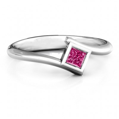 Princess Cut Bypass Personalised Ring - AMAZINGNECKLACE.COM