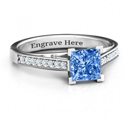 Princess Cut Personalised Ring with Channel Set Accents - AMAZINGNECKLACE.COM