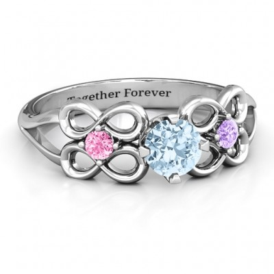 Quad Infinity Personalised Ring with Centre stone and Dual Accent Personalised Ring  - AMAZINGNECKLACE.COM