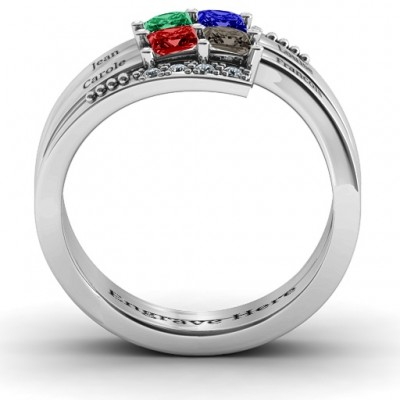 Quad Princess Stone Personalised Ring with Accents  - AMAZINGNECKLACE.COM