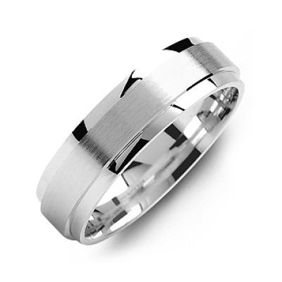 Raised Brush Centre Flat Polished Edges Men's Personalised Ring - AMAZINGNECKLACE.COM