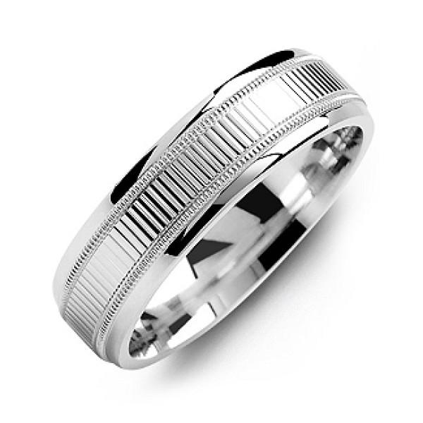 Ridged Men's Personalised Ring with Milgrain Edges - AMAZINGNECKLACE.COM
