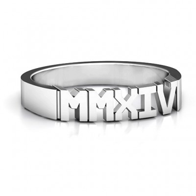 Roman Numeral Unisex Graduation Personalised Ring - AMAZINGNECKLACE.COM