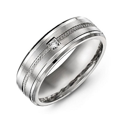 Rope Design Men's Personalised Ring with Stone and Beveled Edges  - AMAZINGNECKLACE.COM