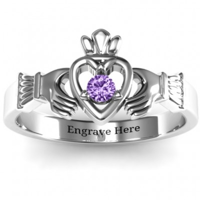Round Stone Claddagh Personalised Ring  - AMAZINGNECKLACE.COM