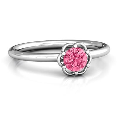 Scarlet Flower Personalised Ring - AMAZINGNECKLACE.COM