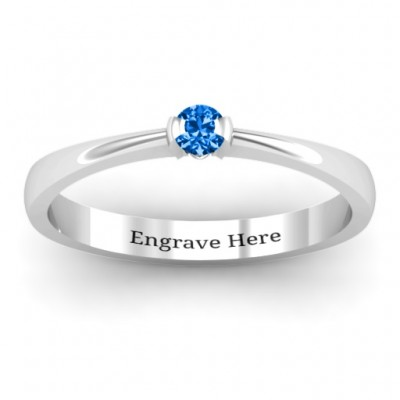 Semi Bezel Set Solitaire Personalised Ring - AMAZINGNECKLACE.COM