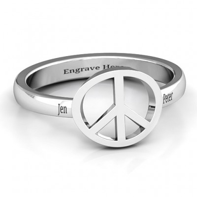 Shanti Peace Personalised Ring - AMAZINGNECKLACE.COM